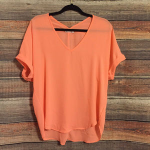 Nordstrom Lush peach sheer v neck top